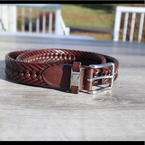Nautica leather braided belt brown professional